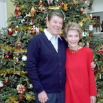 12/24/1985 President Reagan Nancy Reagan Photo Op. By Residence Christmas Tree