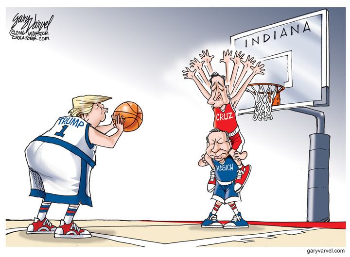 Cartoon: Cruz and Kasich Try To Block Trump's Shot In Indiana ...