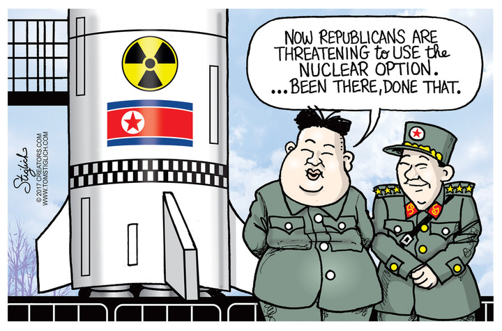 How Trump and North Korea are skewered by the 'fire and ... |Current Political Cartoons North Korea